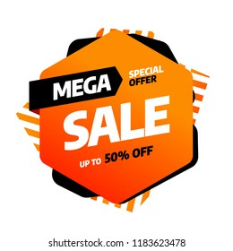 Sale banner template design, Big sale special offer. End of season. Vector illustration.