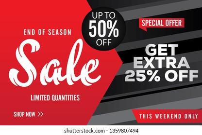 Sale banner template design. Big sale, clearance. 50% off. Vector illustration