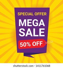Sale banner template design, big sale special offer. End of season special offer banner. Cybersale discounts. Mega sale banner template design.