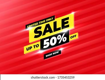 Sale banner template design, Big sale special offer promotion discount banner.
