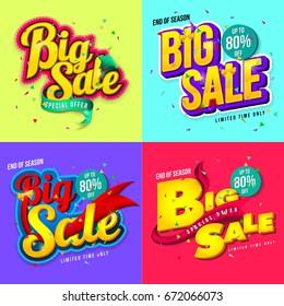 Sale banner template design, Big sale special up to 80% off. Super Sale, end of season special offer banner for web, game ,Creative poster, booklet, leaflet, flyer, magazine. vector illustration.