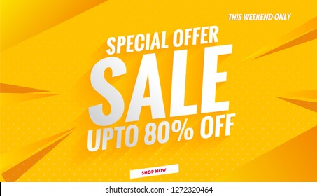 sale banner template design color yellow.