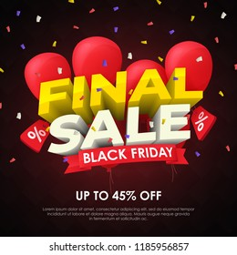Sale banner template design. Final sale special offer. Seasonal discounts. 3d letters and red balloons on a dark background. Template for ads in social networks. Fashionable vector Illustration