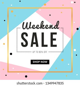 Sale banner template design with gold square frame and weekend sale word. Social media banner template, voucher, discount, season sale
