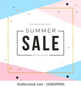 Sale banner template design with gold square frame and summer sale word. Social media banner template, voucher, discount, season sale