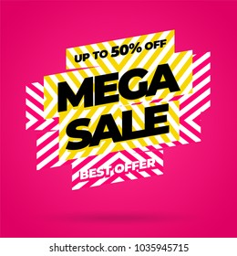 Sale banner template design, Mega sale special offer. end of season special offer banner. vector illustration.