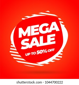 Sale banner template design, Mega sale special offer. Vector illustration.