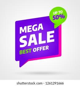 Sale banner template design, Mega sale best offer. End of season. Vector illustration.