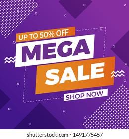 Sale banner template design, Mega Super sale special offer. Vector illustration.