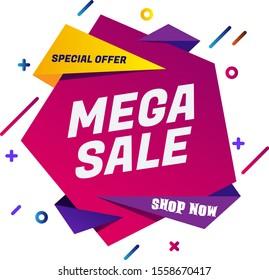 Sale banner template design, mega sale special offer. end of season special offer banner. vector illustration.