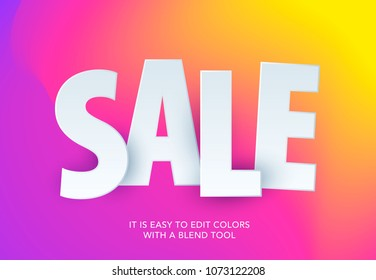 Sale banner template design on colourful background. Special offer for shopping, retail. Typography, lettering for website, flyer.