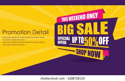 Sale Banner Template Design, Poster, This Weekend Special Offer Sale, Discounts, up to 50% off. Vector Illustration. Store Label. Communication Poster - Vector