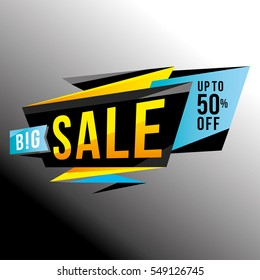 Sale banner template design, poster, sign, sticker. Big sale, discounts, up to 50% off. Vector illustration. Store label. Communication poster.