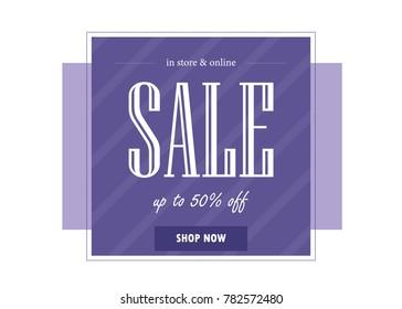 Sale banner template design. Vector illustration in ultra violet color.