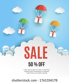 Sale banner template. Gift Box flying on parachutes, paper art style, vector illustration.