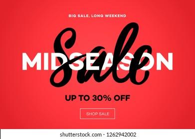 Sale banner template, midseason sale, red background, vector illustration.