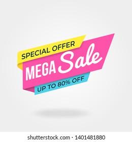 Sale banner template with modern design on white background, modern minimalist design for promotional, social media post, marketing kit