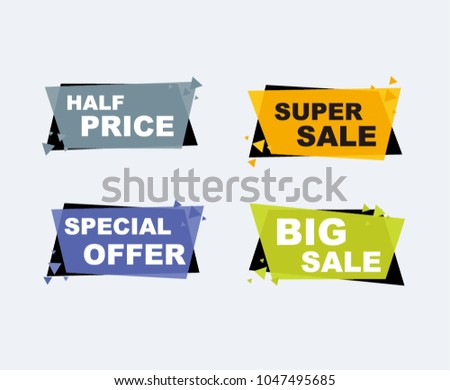 sale banner template ribbon emblems labels stock vector royalty