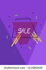 Sale banner with trapezium shape, sliced background and geometric abstract composition. Promotion card with text. Vertical poster for advertising design. Vector illustration.