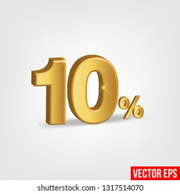 Sale Banner, Upto 10 percent OFF Special Offer Ad. Vector Banner. Price Discount Offer. Season Sale design in golden typography in grey background. - Vector