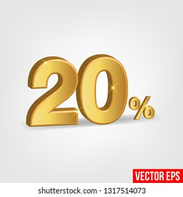 Sale Banner, Upto 20 percent OFF Special Offer Ad. Vector Banner. Price Discount Offer. Season Sale design in golden typography in grey background. - Vector