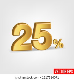 Sale Banner, Upto 25 percent OFF Special Offer Ad. Vector Banner. Price Discount Offer. Season Sale design in golden typography in grey background. - Vector