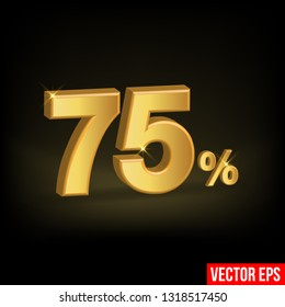 Sale Banner, Upto 75 percent OFF Special Offer Ad. Vector Banner. Price Discount Offer. Season Sale design in golden typography in black background. - Vector