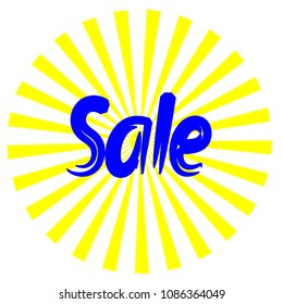 sale banner, vector illustration. yellow sun with rays