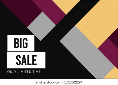 Sale banner vector illustration.Design template for social media, ads,  special offers, sales and discounts. Geometric abstract shapes with black, yellow, red colors