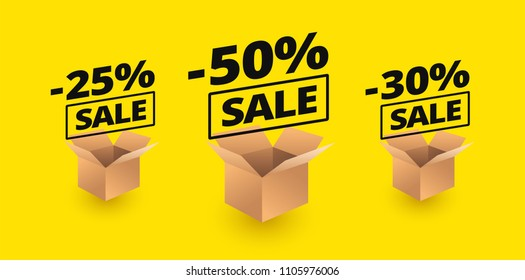 Sale banner yellow background package boxed and sale discounts - 50% off, 25% off, 30% off sale vector