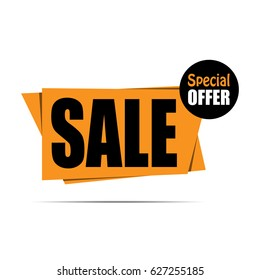 Sale banner. Yellow discount poster, Sale tag, label, badge, sticker, flat style. Special offer. Vector illustration, eps10