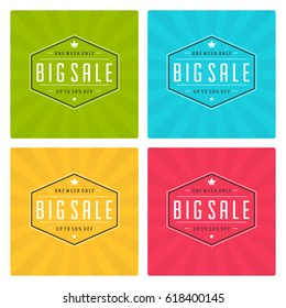 Sale Banners or Badges Vector Design Set. Collection for Promotional Brochure or booklet, Discount Poster, Shopping flyer, Clearance advertising.