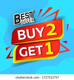 Sale banners buy 2 get 1 for free. Free Item Applies to selected items of equal or lesser value: poster, flyer, flyer, flyer badge, label or sticker on a blue background
