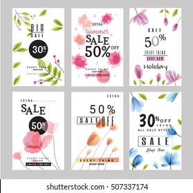 sale banners collection for social media banners, web design, shopping on-line,posters, email and newsletter designs, ads, promotional, letter, watercolor  style, vector illustration