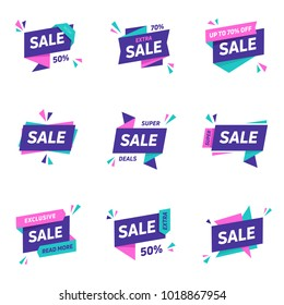 Sale banners design templates set. Flat line geometric speech bubbles special offers discounts vector illustration.