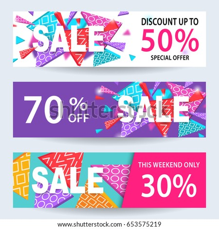 sale banners discount coupons template set stock vector royalty