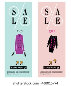 Sale banners with the fashion clothing. Sale concept. Woman fashion style. Trench coat, cat eye glasses. Vector illustration. Sale.