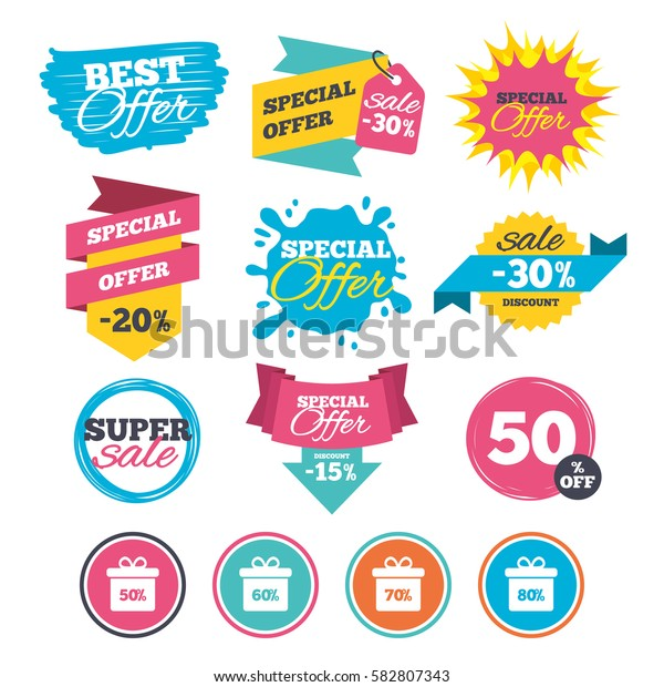 Sale banners, online web shopping. Sale gift box tag icons. Discount special offer symbols. 50%, 60%, 70% and 80% percent discount signs. Website badges. Best offer. Vector