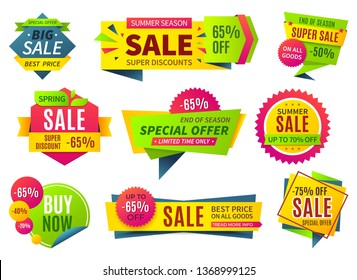 Sale banners. Price stickers collection, ribbons square and round shape badges and labels, discount coupons. Vector special designed percent offer set
