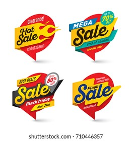 Sale banners template, hot, fire, lightning bubbles. Vector illustration set