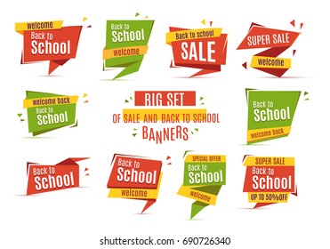 Sale big set of beautiful yellow discount and promotion banners. Advertising element. Vector illustration