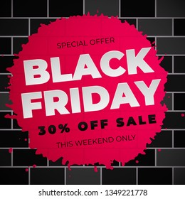 Sale black Friday banner layout design 30 percent off with pink brushstroke on black brick wall background. Vector illustration design template for flyer, poster, shopping, discount, web
