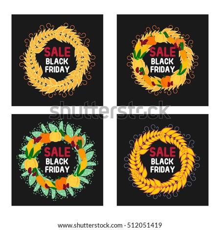 Sale Black Friday Set Round Frames Stock Vector Royalty Free