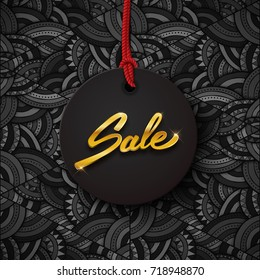 Sale black tag with gold text, round banner, advertising, black friday vector illustration
