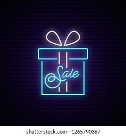 Sale bright neon sign. Light advertizing singboard. Vector banner.