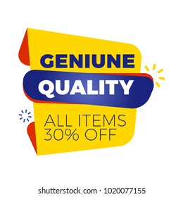 Sale bunner template. Vector design element for your promotion. Red, yellow and blue color theme. Rounded speech bubble