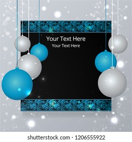 Sale bussines template for web and print, cute label for sale poster . Beautiful cover template for christmas card black ,silver and white with bokeh shiny glow decoration and chrismas tree balls.