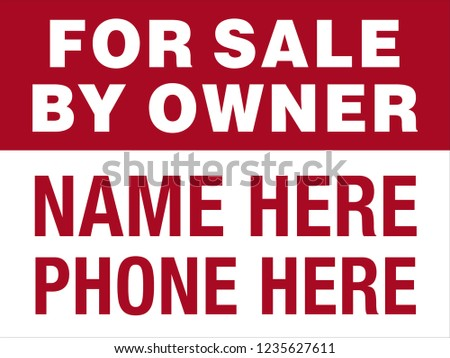 sale by owner sign red white stock vector royalty free 1235627611