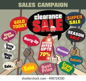 Sale Campaign 'Clearance Sale' to icon web banners and sales banner