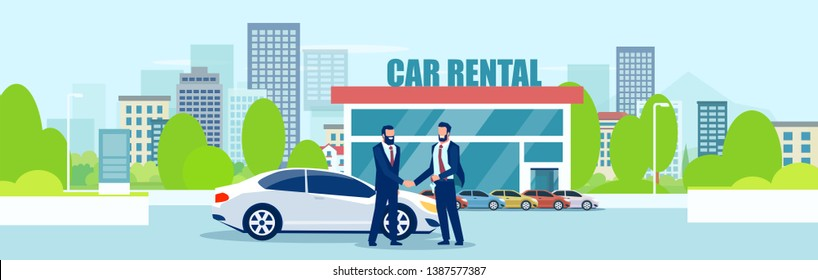 Sale or car rental concept. Vector of a salesman giving automobile keys to a customer on a city showroom background